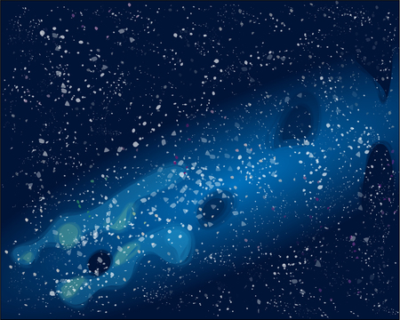 Vector illustration with space, blue sky and stars