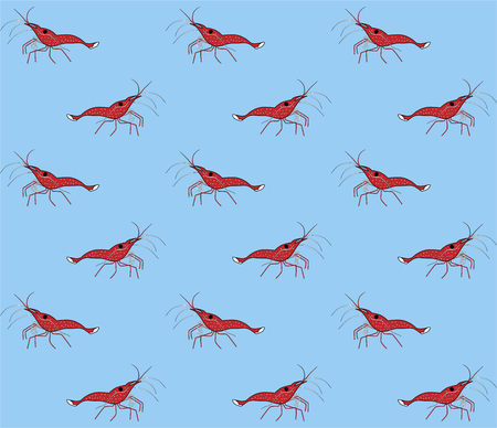 Seamless vector pattern with shrimps