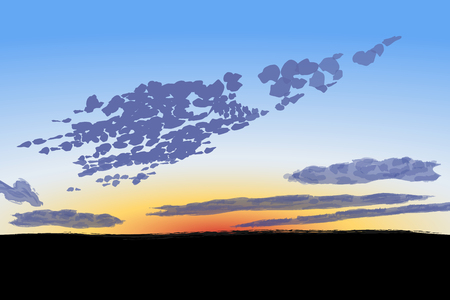 Sunset sky with high spindrift clouds, vector illustration