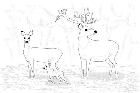 Hertenfamilie aan de rand van het bos, zwart-witprinter vectorillustratie