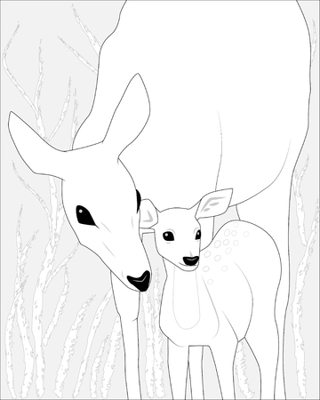 Female deer  with fawn deer, black and white vector illustration