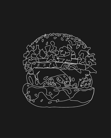 Burger on dark background, black and white vector illustration Ilustracja