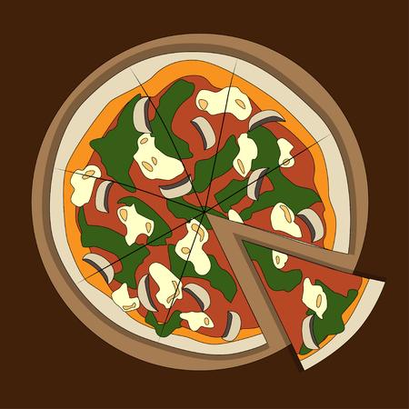 Italian colorful pizza on dark background, vector illustration