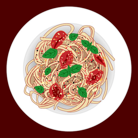 Pasta with spagetti, tomatoes and basil, vector illustration