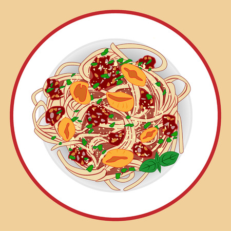 Pasta with spagetti, meat sause, tomatoes and herbs