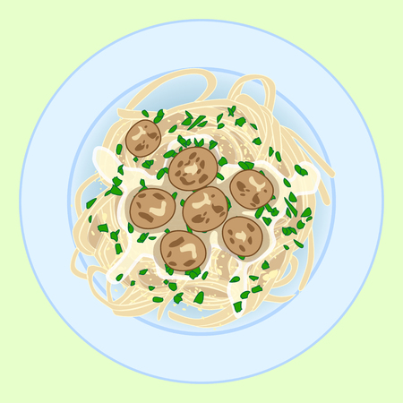Pasta with spagetti, meatballs and herbs Ilustracja