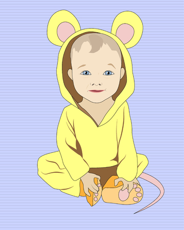 Little sitting baby in mouse costume Illustration