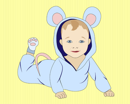 Little lying baby in mouse costume, vector illustration