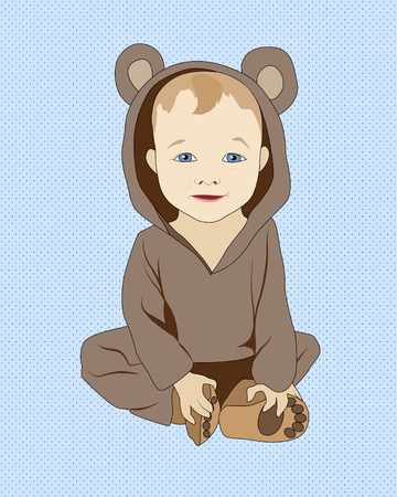 Little sitting baby in bear costume, vector illustration