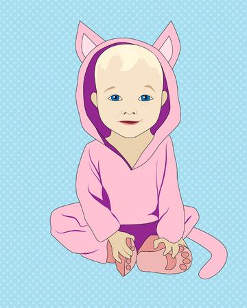 Little lying baby in kitten costume, vector illustration Illustration