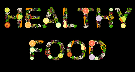 Lettering 'HEALTHY FOOD' from vegetables and fruits, vector illustration, black background