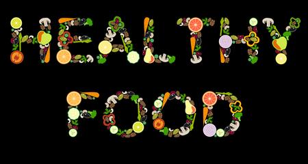Belettering 'GEZOND VOEDSEL' van groenten en fruit, vectorillustratie, zwarte achtergrond