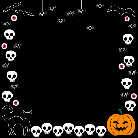 Halloween frame with net, bats and crown, vector illustration