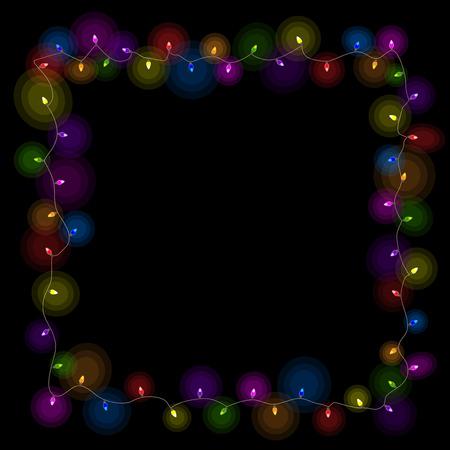 Rahmen aus farbiger Weihnachtsbeleuchtung, Vektorillustration