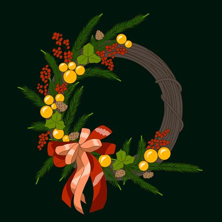 Christmas wreath with balls, branches, bow, vector illustration Vektorgrafik