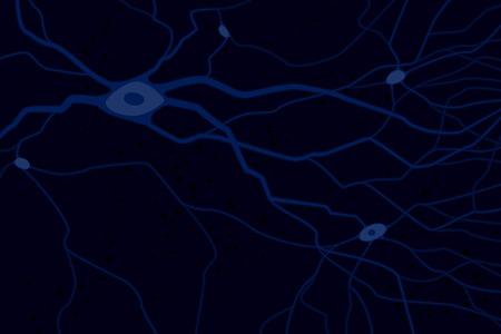 Nerve celles with axons, vector illustration, blue on dark background