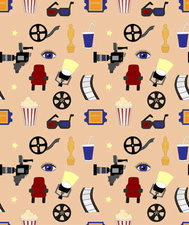 Seamless vector pattern with movie elements