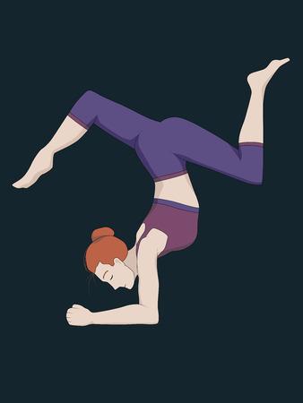 Woman doing yoga, forearm stand, pinchamayurasana, vector illustration