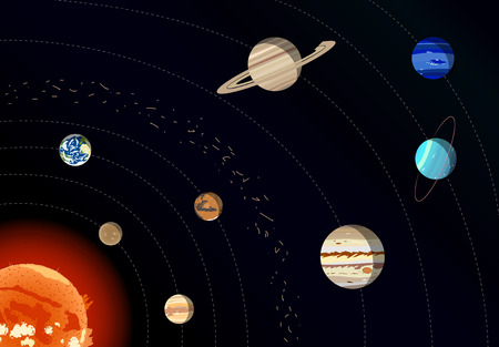 Model of Solar system, vector illustration