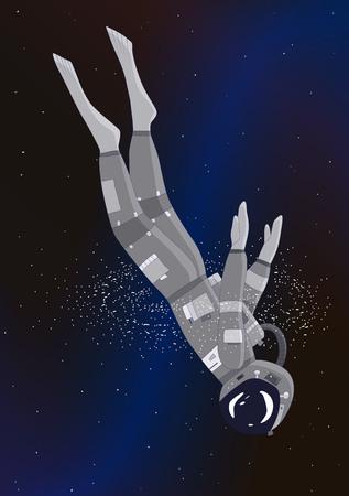 Astronaut dives in galaxy, vector illustration