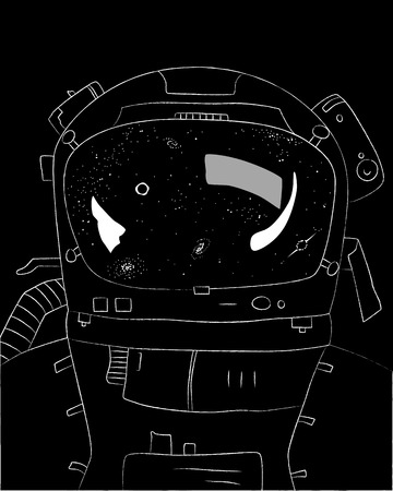 Astronaut on black background, stars and galaxies in reflection, vector illustration  イラスト・ベクター素材