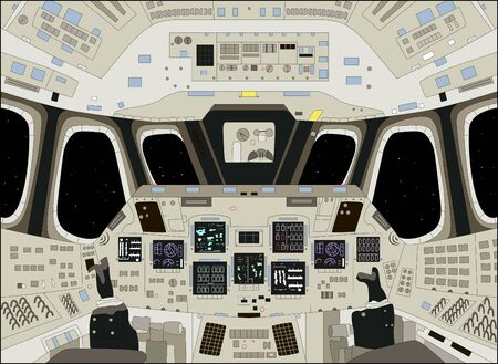Spaceship cabin from inside, vector illustration