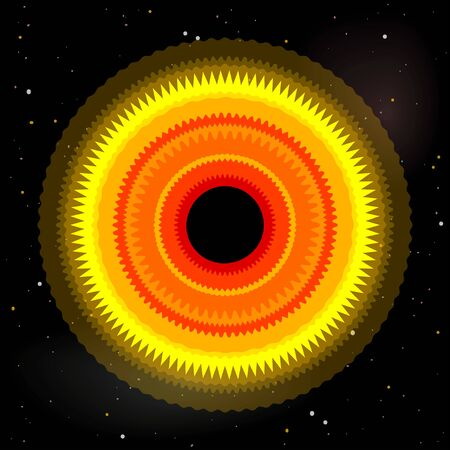 Black hole with accretion disk, vector illustration