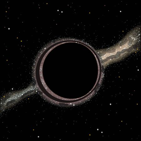 Black hole with gravitational lensing, galaxy on background, vector illustration