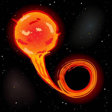 Black hole drawing matter from nearby star, forming accretion disk, vector illustration
