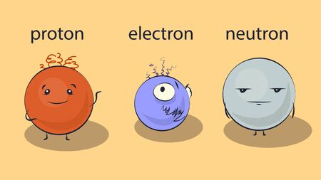 Cartoon proton, electron and neutron, vector illustration Vektorgrafik