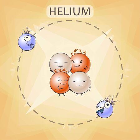 Cartoon helium atom, vector illustration Vettoriali