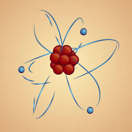 Atom: nucleus and electrons in orbital, vector illustration