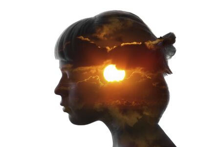 Double exposure bright portrait of girl and sun isolated on white Zdjęcie Seryjne