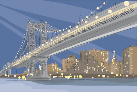 hudson river: Vector illustration panorama of evening Brooklyn Bridge in New York City