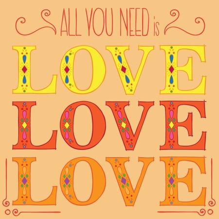 Orange ALL YOU NEED IS LOVE postcard vector illustration Ilustracja