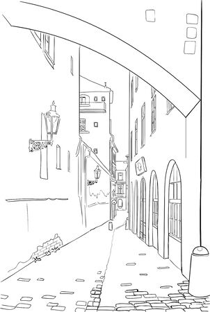Old town street hand drawn sketch on white background Ilustracja