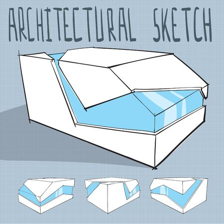 Architecture sketch of minimalistic modern building vector