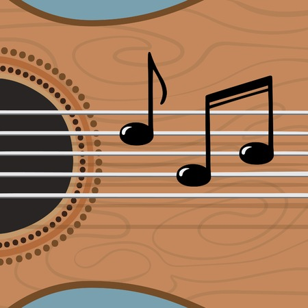 Guitar and notes on the strings conceptual vector illustration Illustration