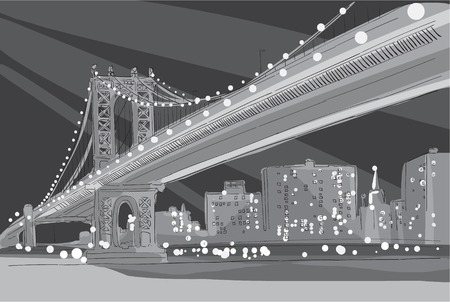Vector black and white illustration panorama of evening Brooklyn Bridge in New York City