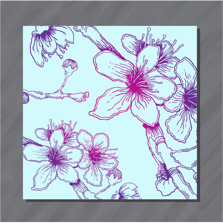 postcard background: Postcard with colorful hand-sketched cherry flowers vector background Illustration
