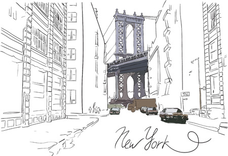 drawing: Hand drawn partly colored Manhattan bridge with street vector illustration