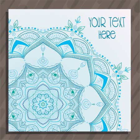 Lght blue tender thin mandala hand drawn postcard vector