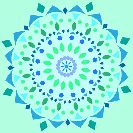 Minimalistic kaleidoscope mandala illustration vector postcard background Ilustracja