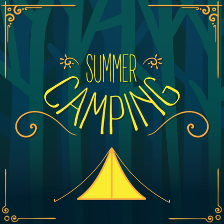 Summer camping vector with tent on forest background
