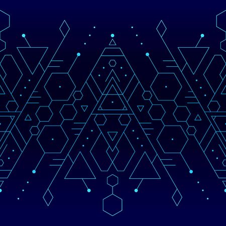 Seamless minimalistic tattoo glowing blue and turquoise vector background Ilustracja