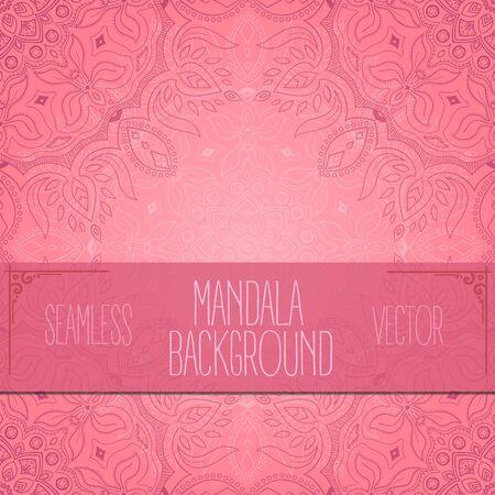 Seamless pink handdrawn bright mandala vector background