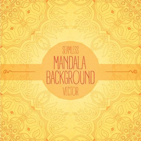 Seamless light orange handdrawn mandala vector background