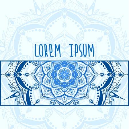 Blue tender hand drawn mandala postcard vector background