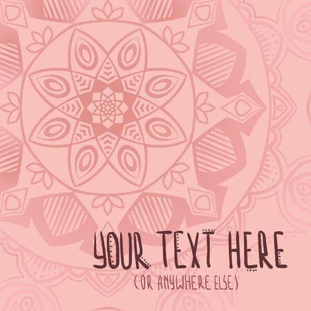 Baby pink tenderhand drawn mandala postcard vector background Ilustracja