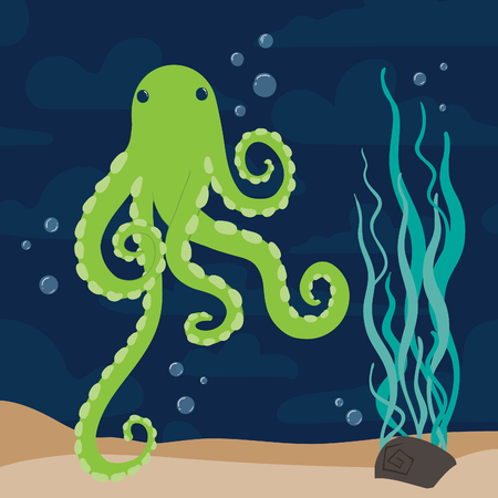 Green funny colorful cartoon octopus marine vector Ilustracja